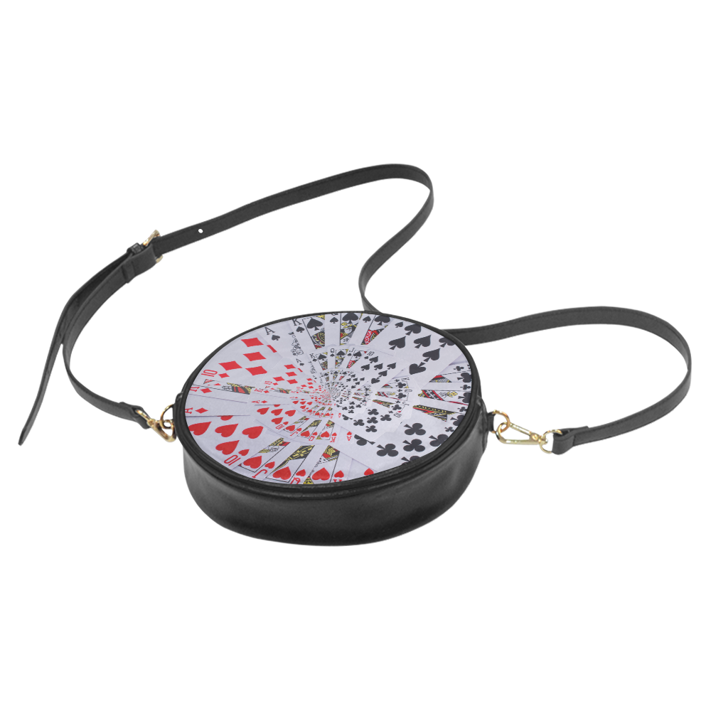 Casino Poker Cards Royal Flush Spiral Droste Round Sling Bag (Model 1647)
