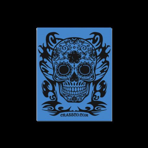 "Skull Tribal blue Canvas Print 16""x20"""
