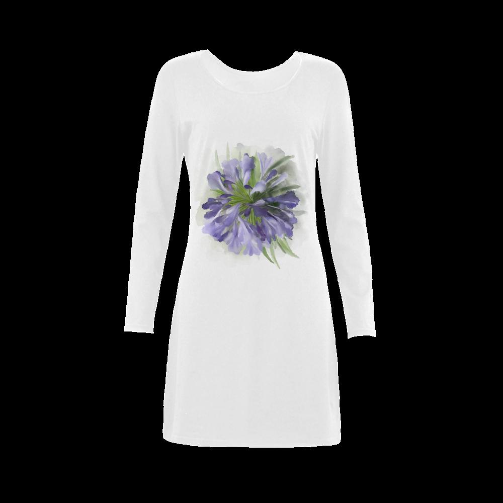 Purple Flowers Demeter Long Sleeve Nightdress (Model D03)