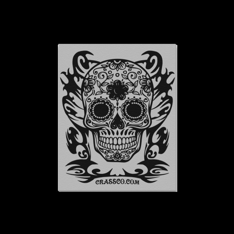 "Skull Tribal silver Canvas Print 16""x20"""