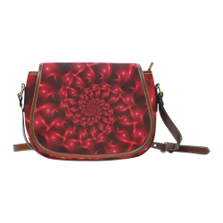 Glossy Red Spiral Fractal Saddle Bag/Small (Model 1649) Full Customization