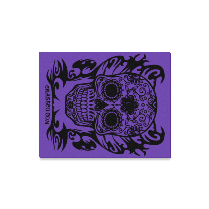 "Skull Tribal lilac Canvas Print 16""x20"""