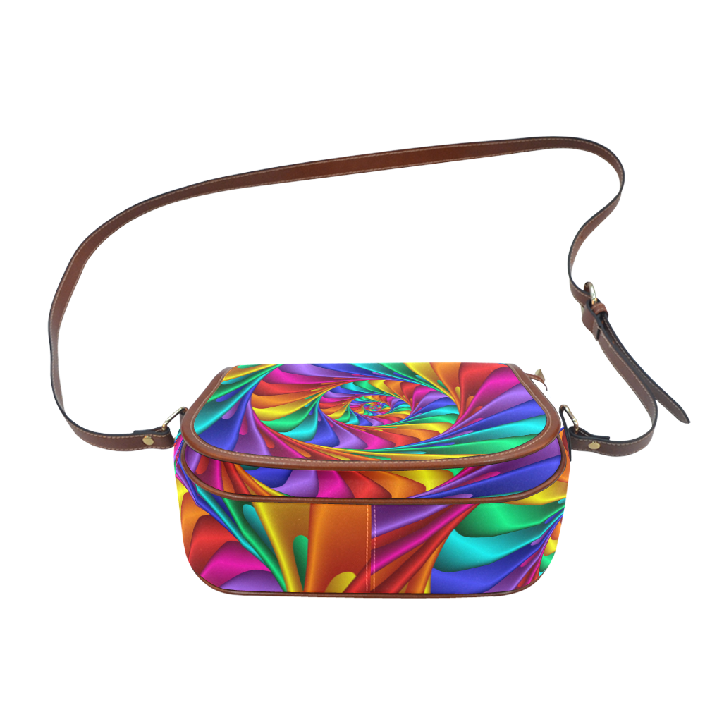 Psychedelic Rainbow Spiral Saddle Bag/Large (Model 1649)