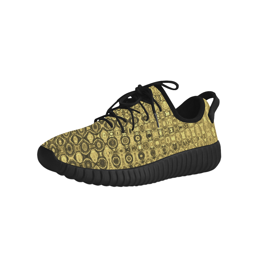 Gold Luxury Texture Grus Women's Breathable Woven Running Shoes (Model 022)