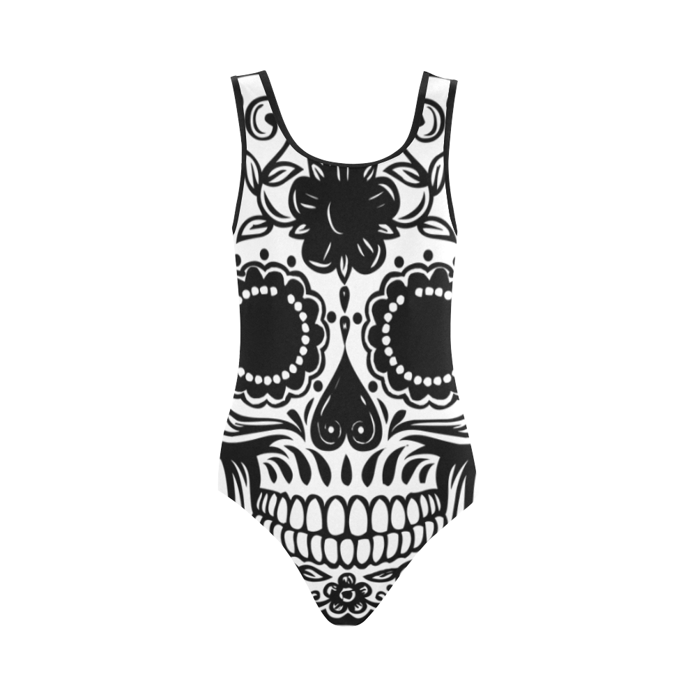 Skull Flowers Vest One Piece Swimsuit (Model S04)