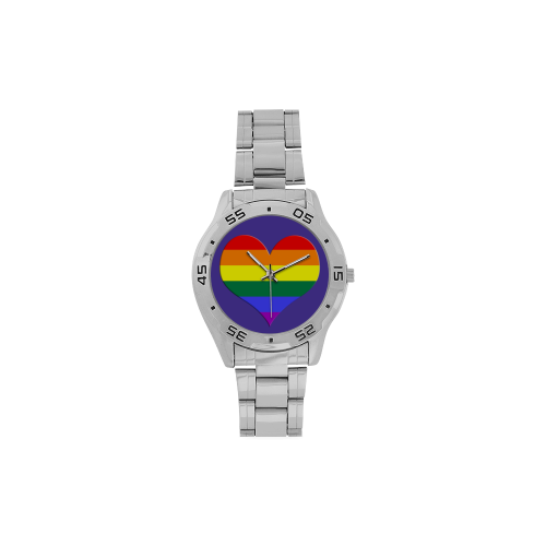 Gay Heart Rainbow Men's Stainless Steel Analog Watch(Model 108)