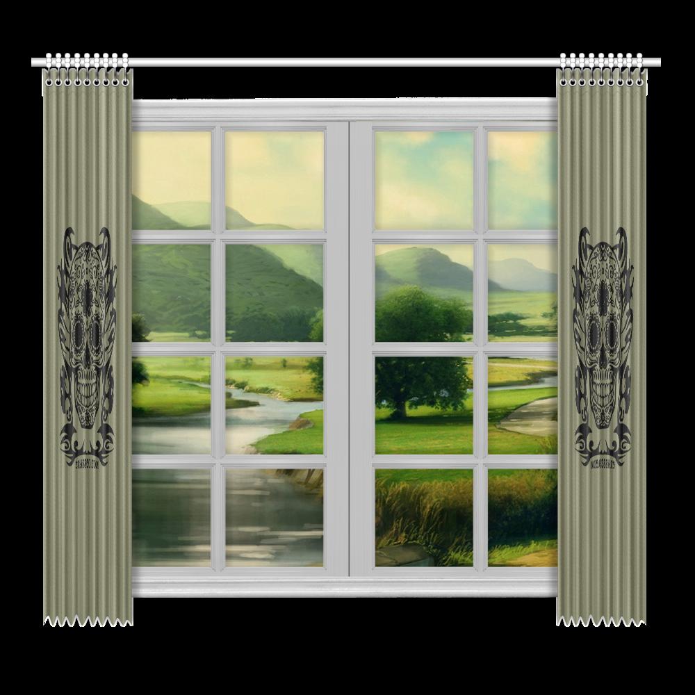 "Skulls Window Curtain 52""x96""(Two Piece)"