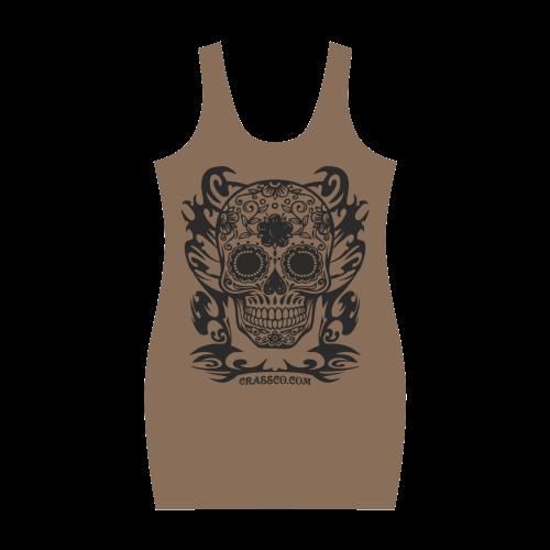 Skull Flowers Brown Medea Vest Dress (Model D06)