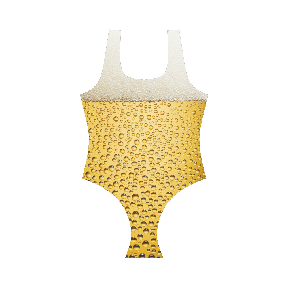Close Up Beer Glass Novelty Vest One Piece Swimsuit (Model S04)