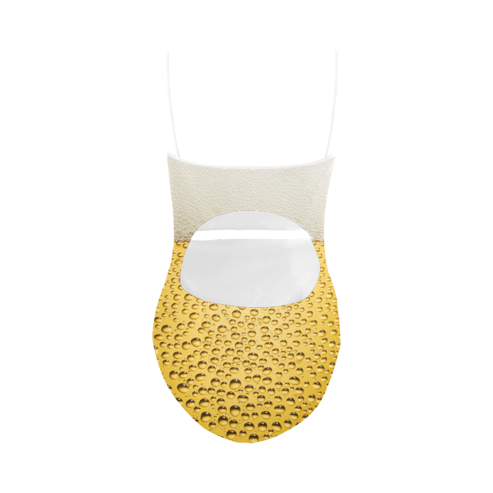 Close Up Beer Glass Novelty Strap Swimsuit ( Model S05)