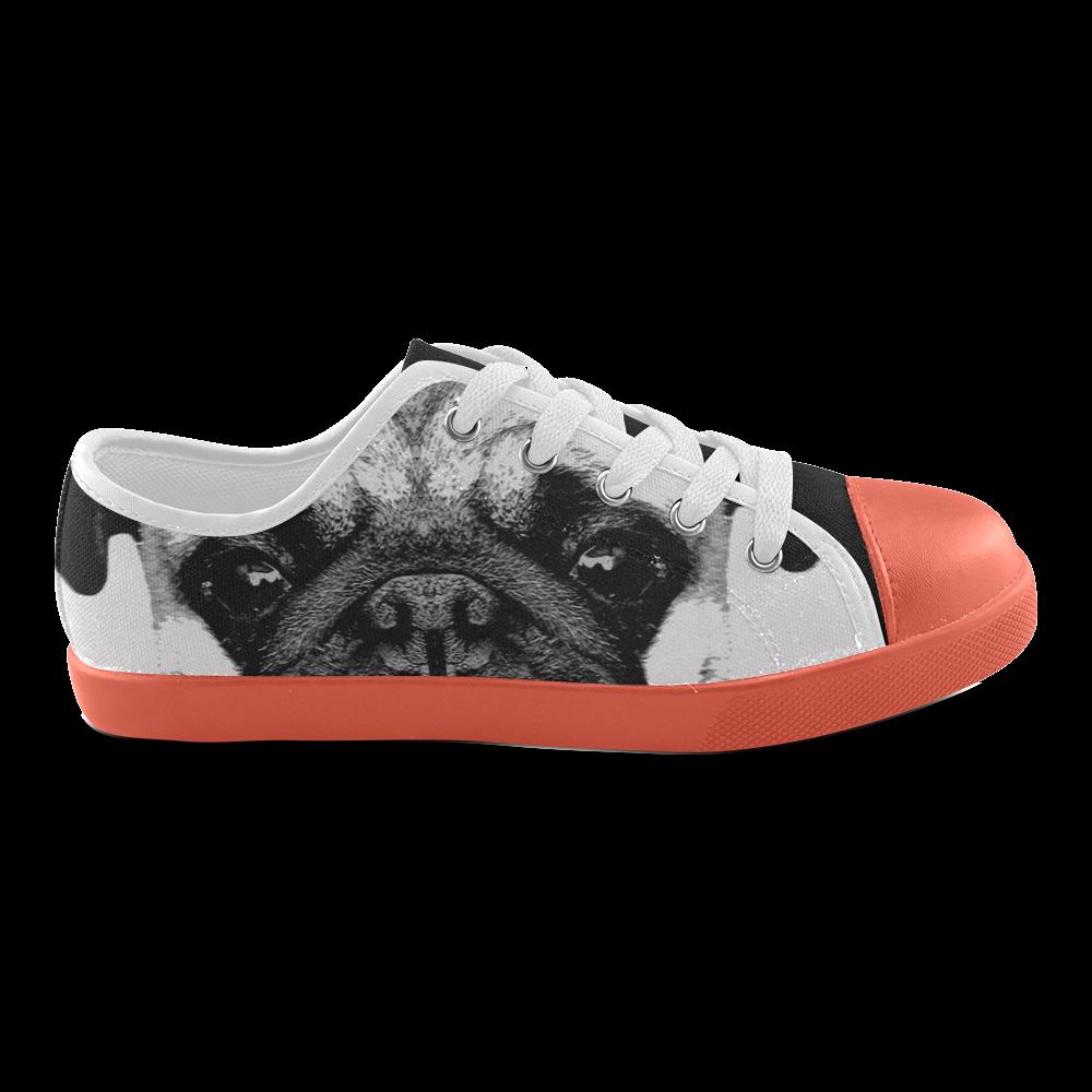 Dog Puppy orange Canvas Kid's Shoes (Model 016)
