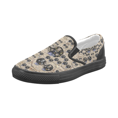 big cats and kittens in the night Men's Slip-on Canvas Shoes (Model 019)