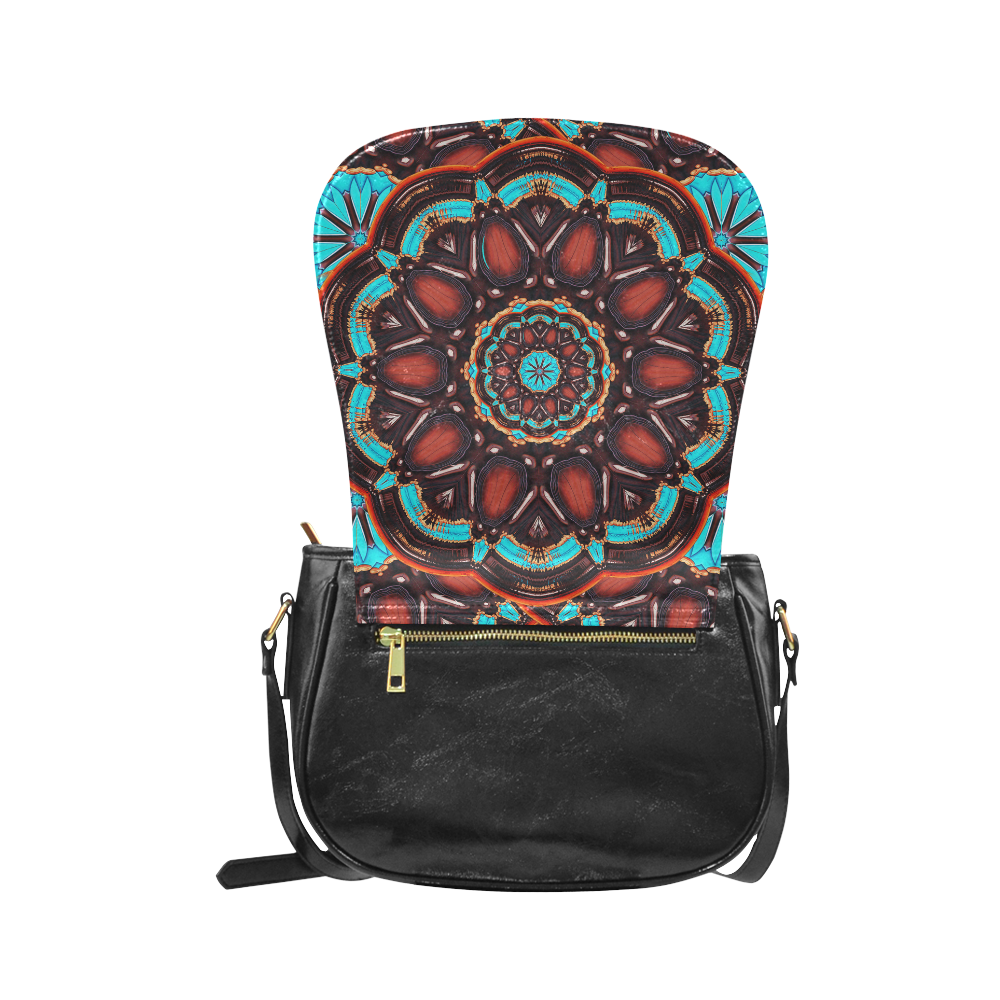 K172 Wood and Turquoise Abstract Classic Saddle Bag/Large (Model 1648)