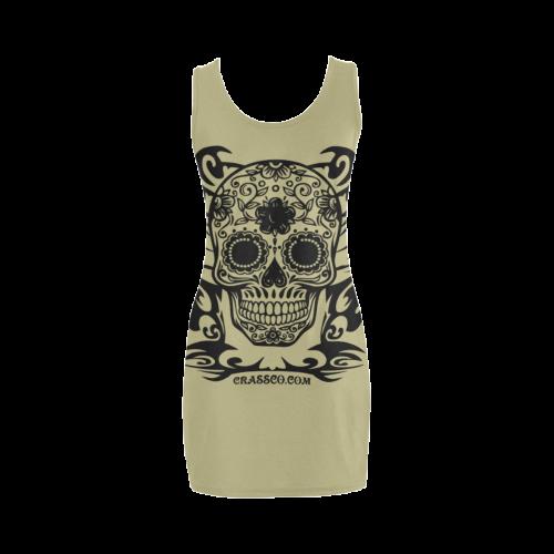 Skull Flowers Khaki Medea Vest Dress (Model D06)