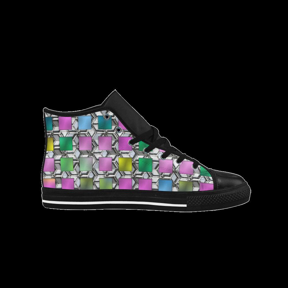 square black Aquila High Top Microfiber Leather Women's Shoes (Model 027)