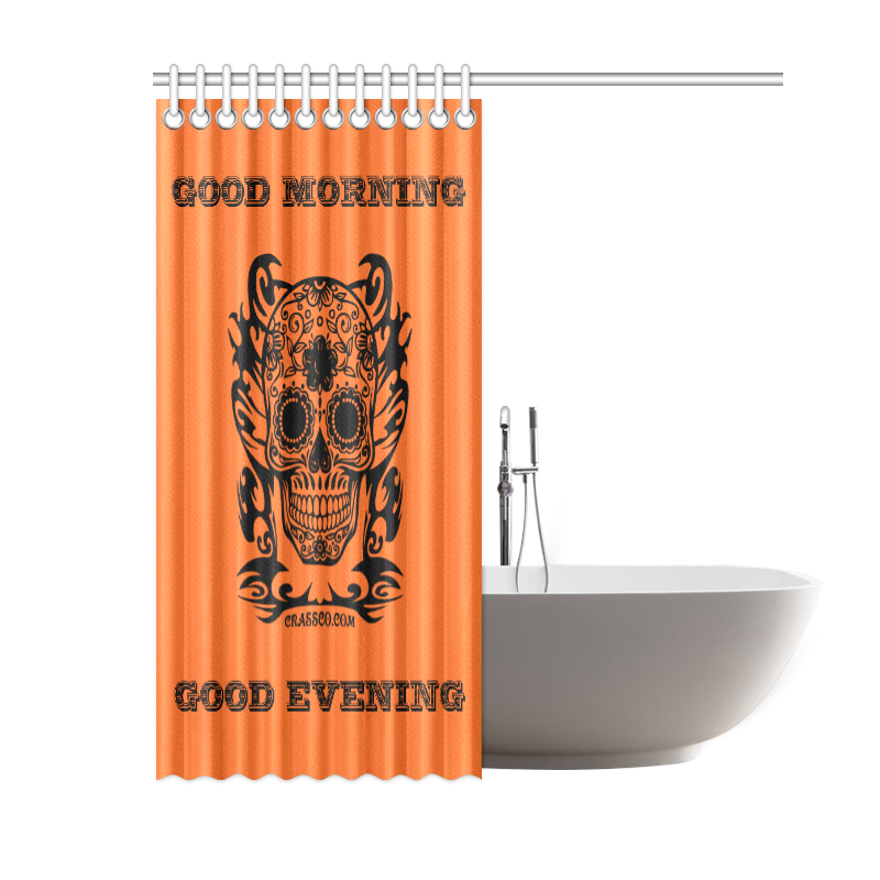 "SKULL BATH ORANGE Shower Curtain 60""x72"""
