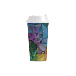 3d Abstract Colorful Low Poly Blocks Double Wall Plastic Mug