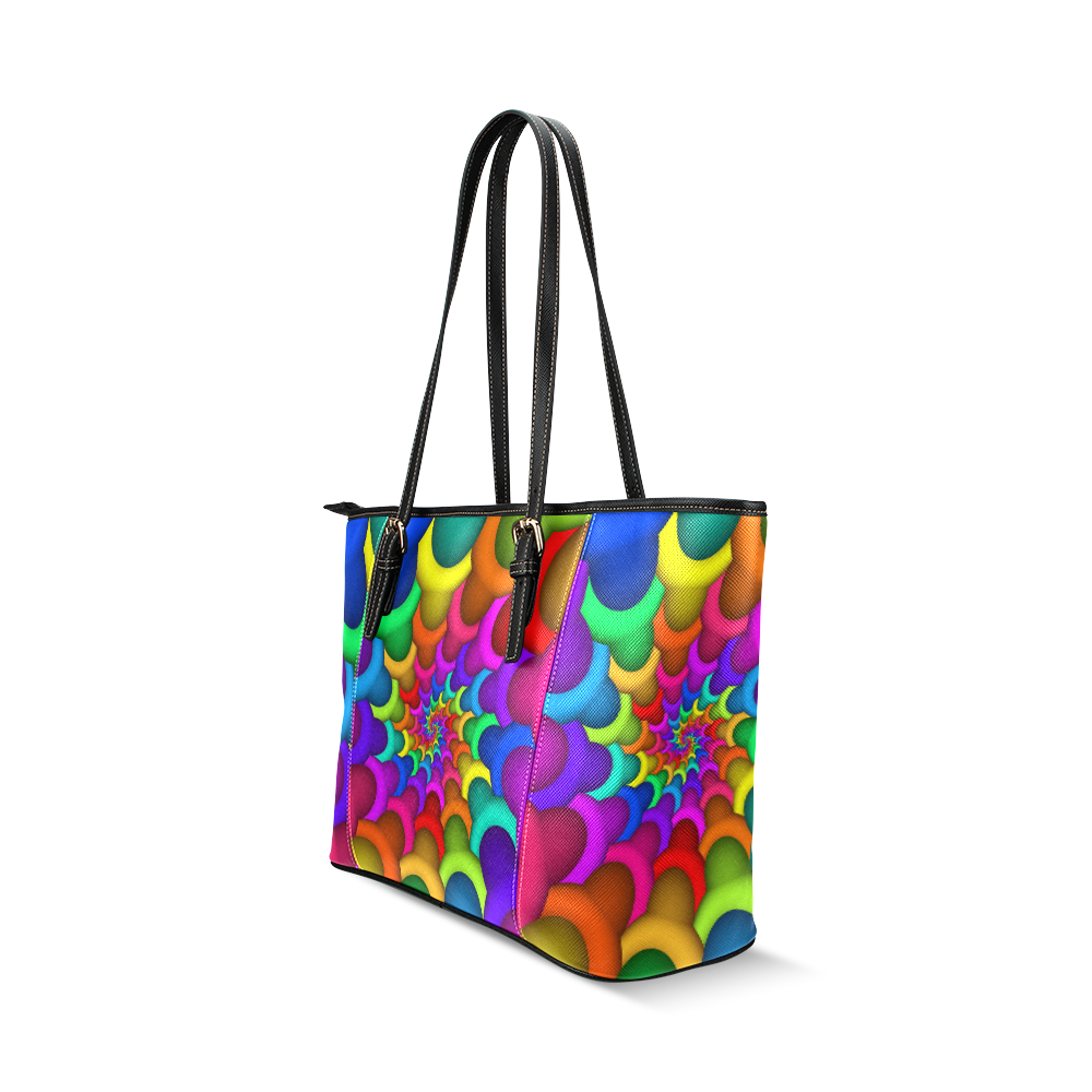 Psychedelic Rainbow Spiral Leather Tote Bag/Large (Model 1640)