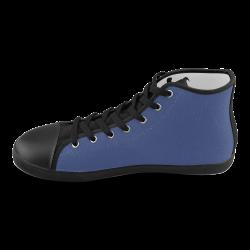 Deep Ultramarine High Top Canvas Kid's Shoes (Model 002)
