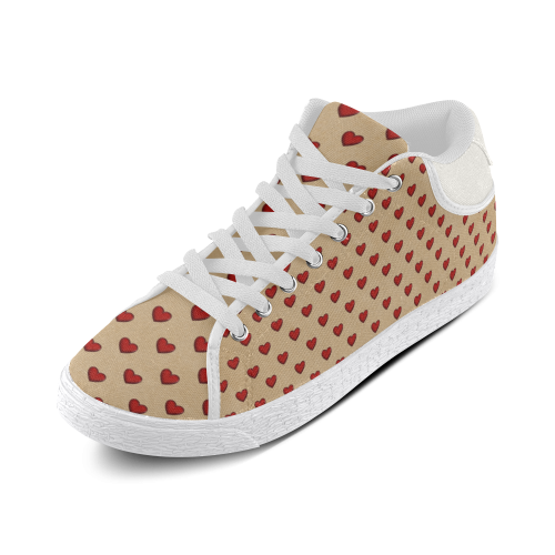 Retro Hearts Women's Chukka Canvas Shoes (Model 003)