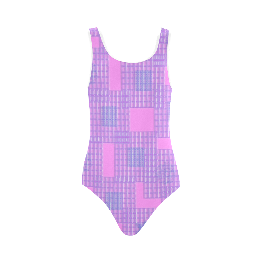 PINK PLASTIC OPTIC Vest One Piece Swimsuit (Model S04)