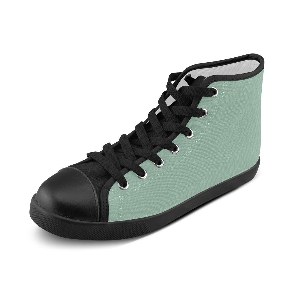 Grayed Jade Men's High Top Canvas Shoes (Model 002)