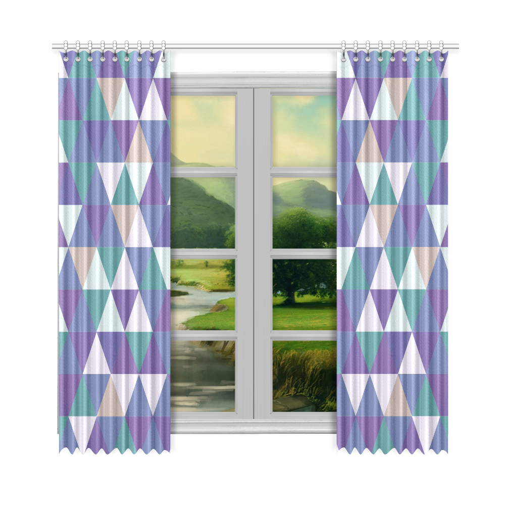 "Purple Green Beige Abstract Triangles Window Curtain 52""x108""(Two Piece)"