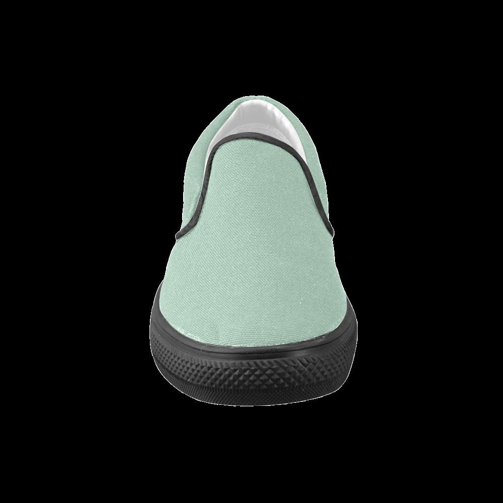 Grayed Jade Men's Unusual Slip-on Canvas Shoes (Model 019)