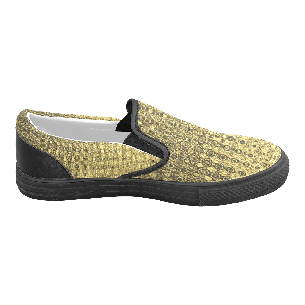 Gold Texture Luxury Men's Slip-on Canvas Shoes (Model 019)
