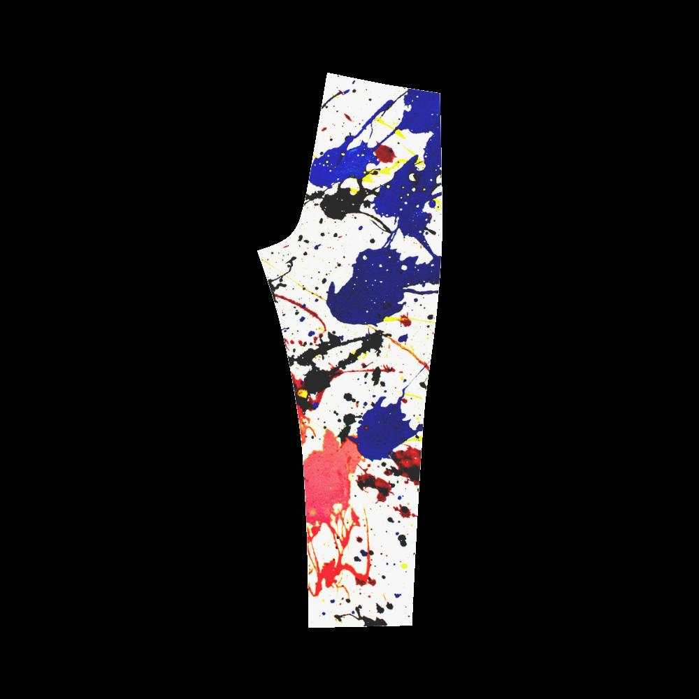 Blue & Red Paint Splatter Capri Legging (Model L02)