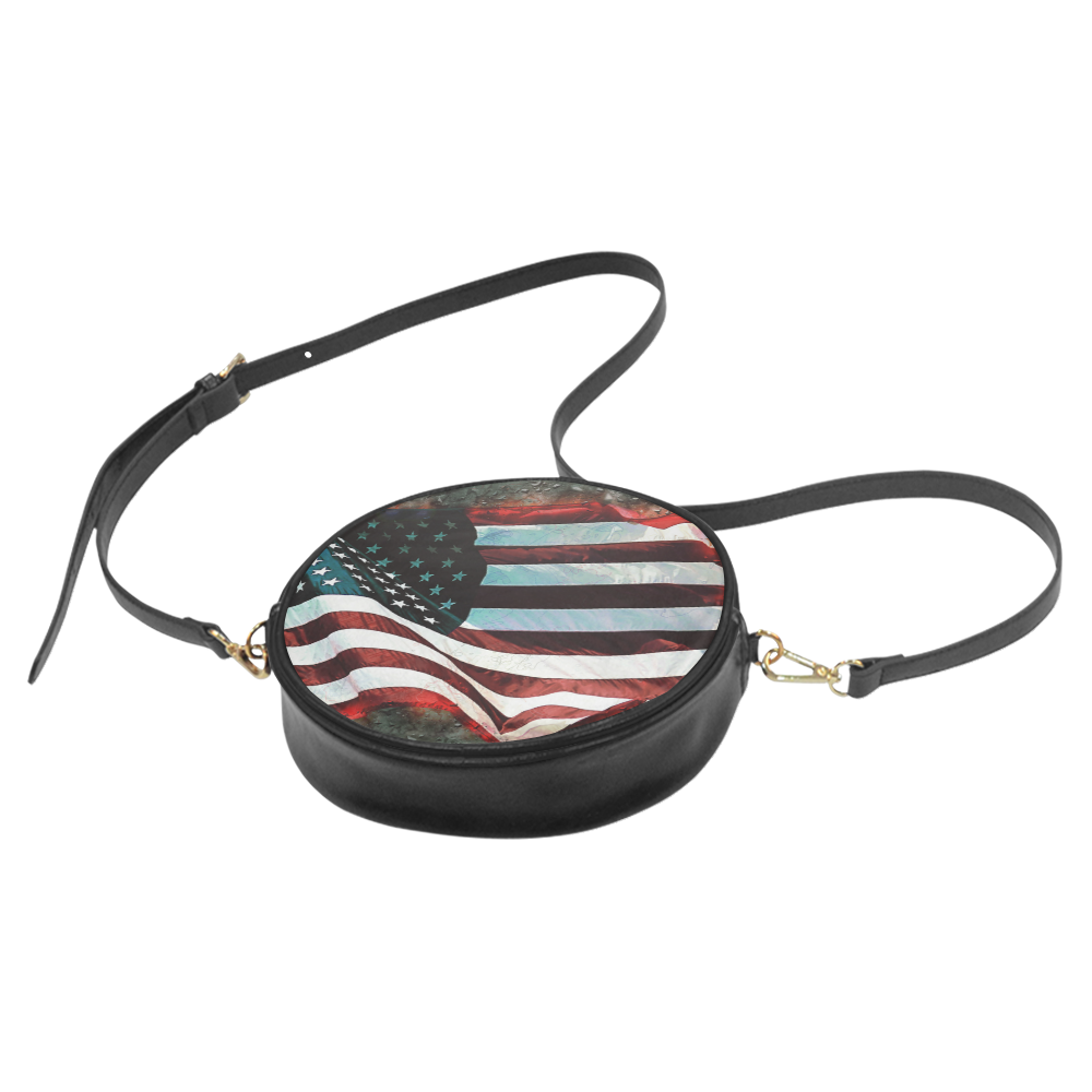 A abstract waving usa flag Round Sling Bag (Model 1647)