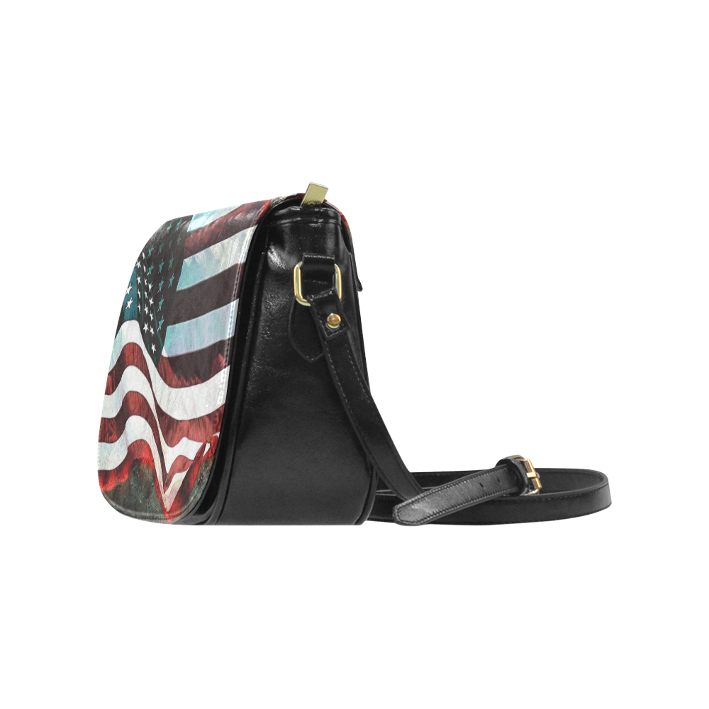 A abstract waving usa flag Classic Saddle Bag/Large (Model 1648)