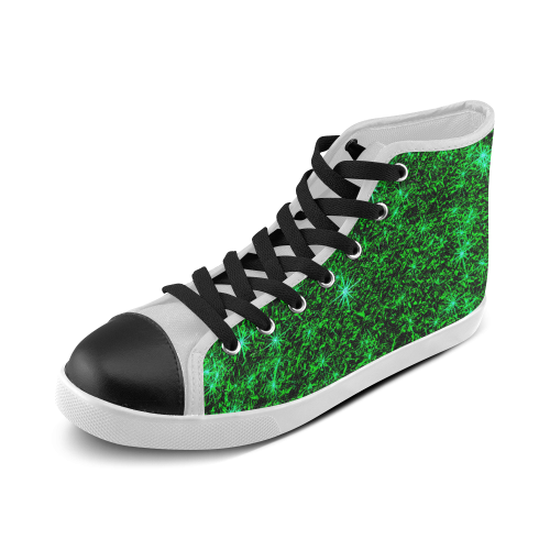 Sparkling Green - Jera Nour Women's High Top Canvas Shoes (Model 002)