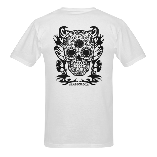 SKULL FLOWERS XVII Men's T-Shirt in USA Size (Two Sides Printing)
