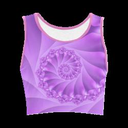 Purple Spiral Fractal Women's Crop Top (Model T42)