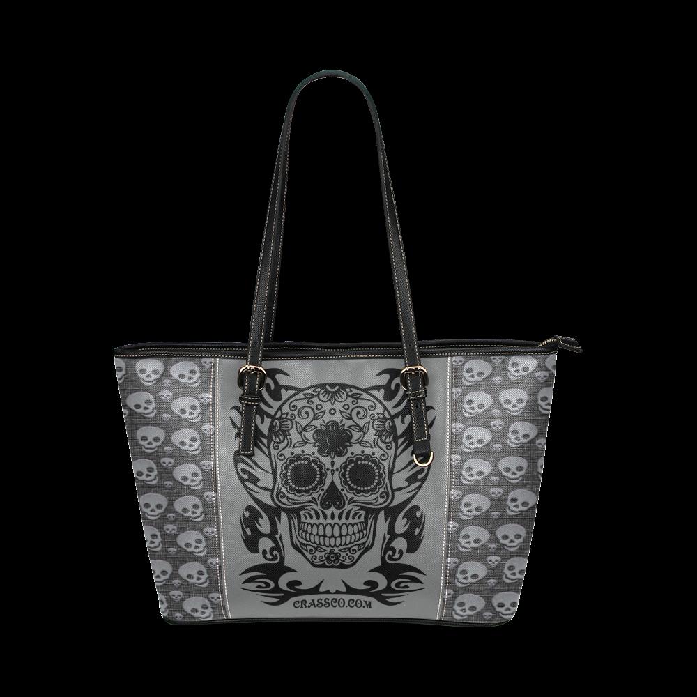 SKULLS LUXURY Leather Tote Bag/Small (Model 1640)