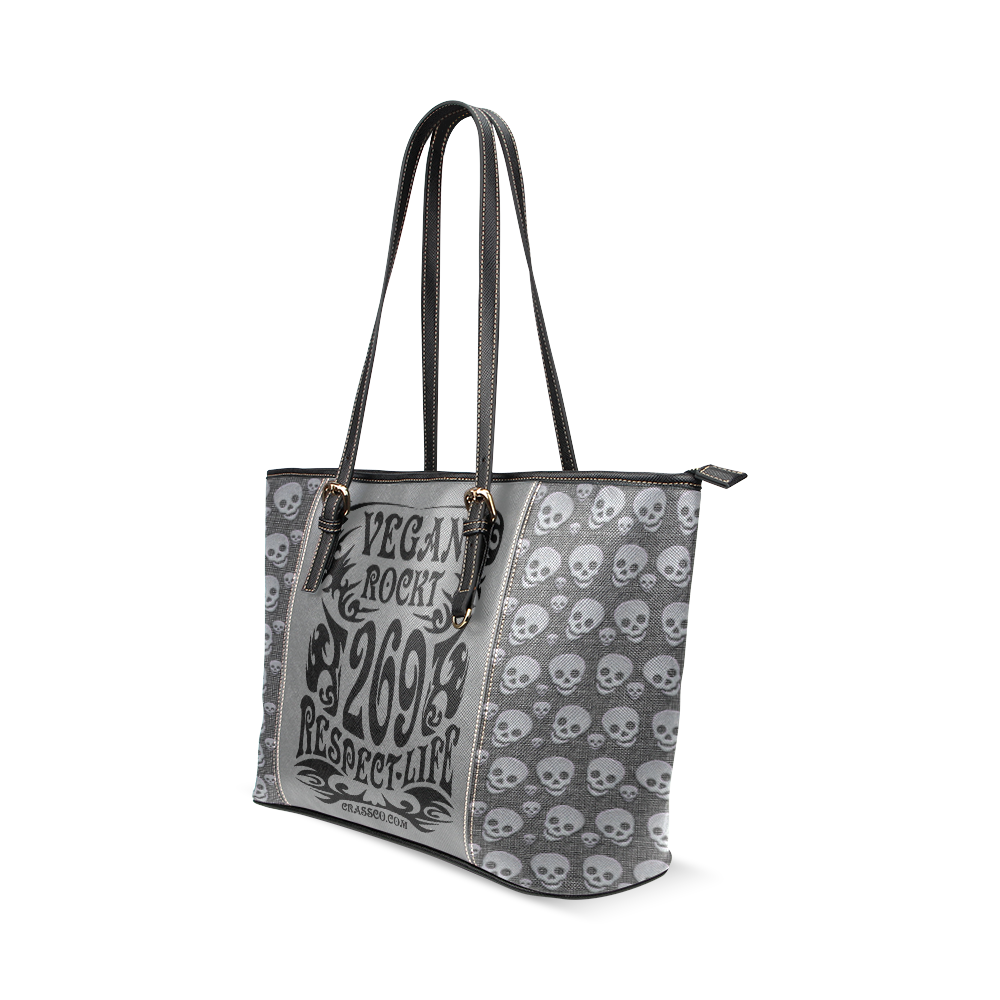 VEGAN ROCKT SKULLS Leather Tote Bag/Small (Model 1640)