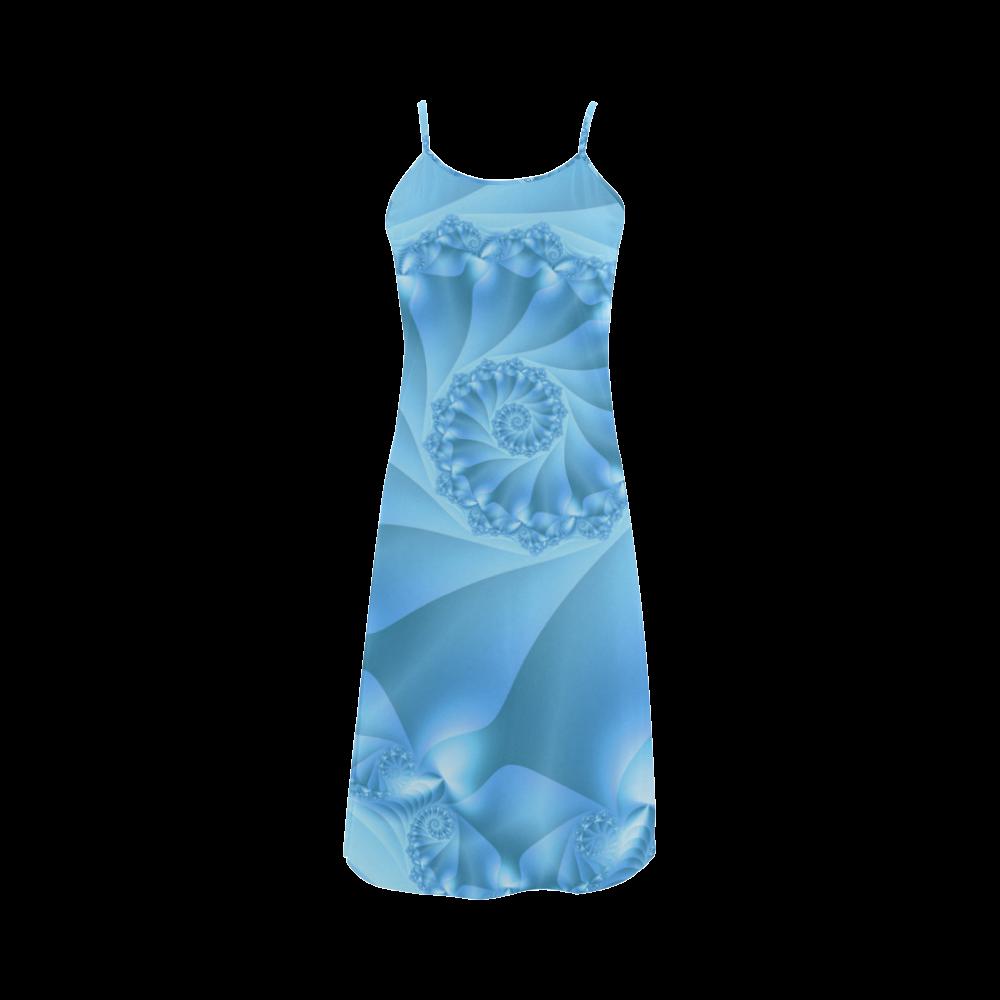 Blue Spiral Fractal Alcestis Slip Dress (Model D05)
