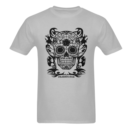 SKULL FLOWERS IV Men's T-Shirt in USA Size (Two Sides Printing)