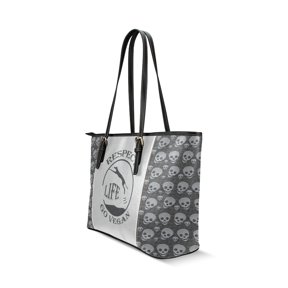 RESPECT LIFE SKULLS Leather Tote Bag/Small (Model 1640)