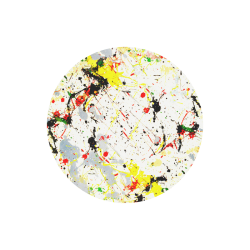 Yellow & Black Paint Splatter Round Mousepad