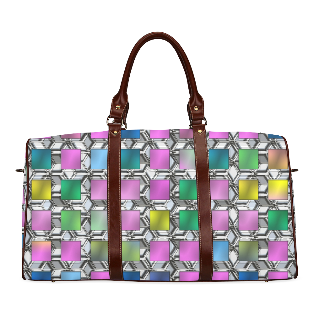 SQUARE MULTICOLOR Waterproof Travel Bag/Large (Model 1639)
