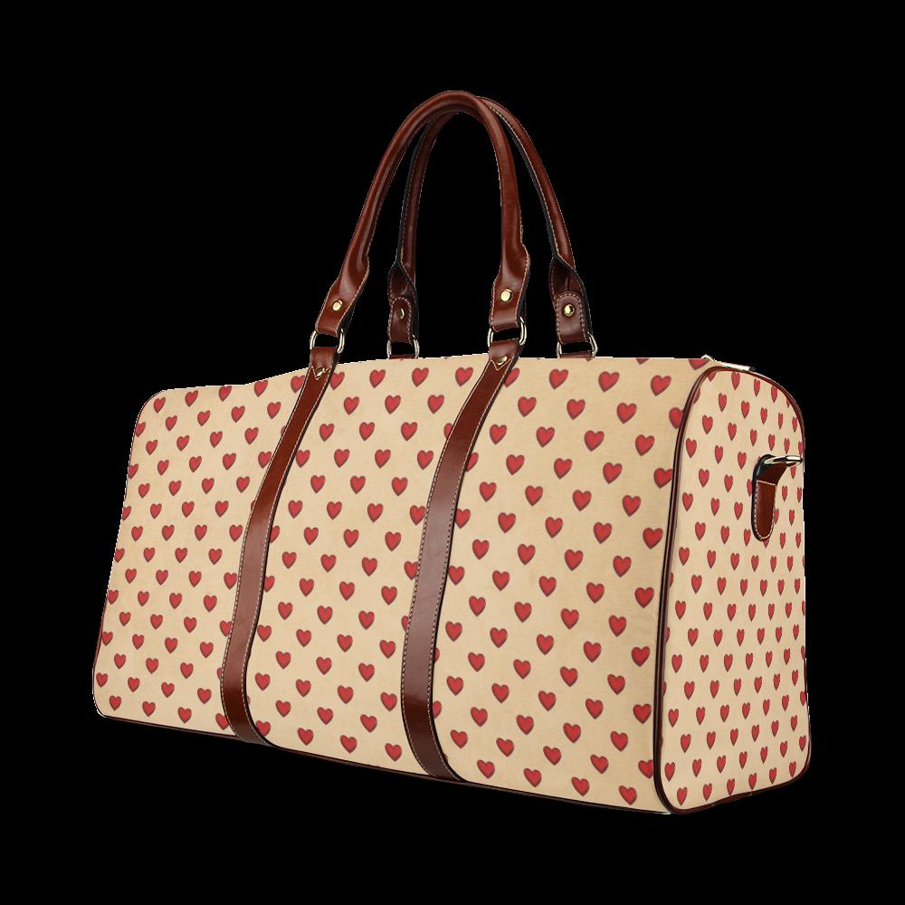 RETRO HEARTS Waterproof Travel Bag/Large (Model 1639)