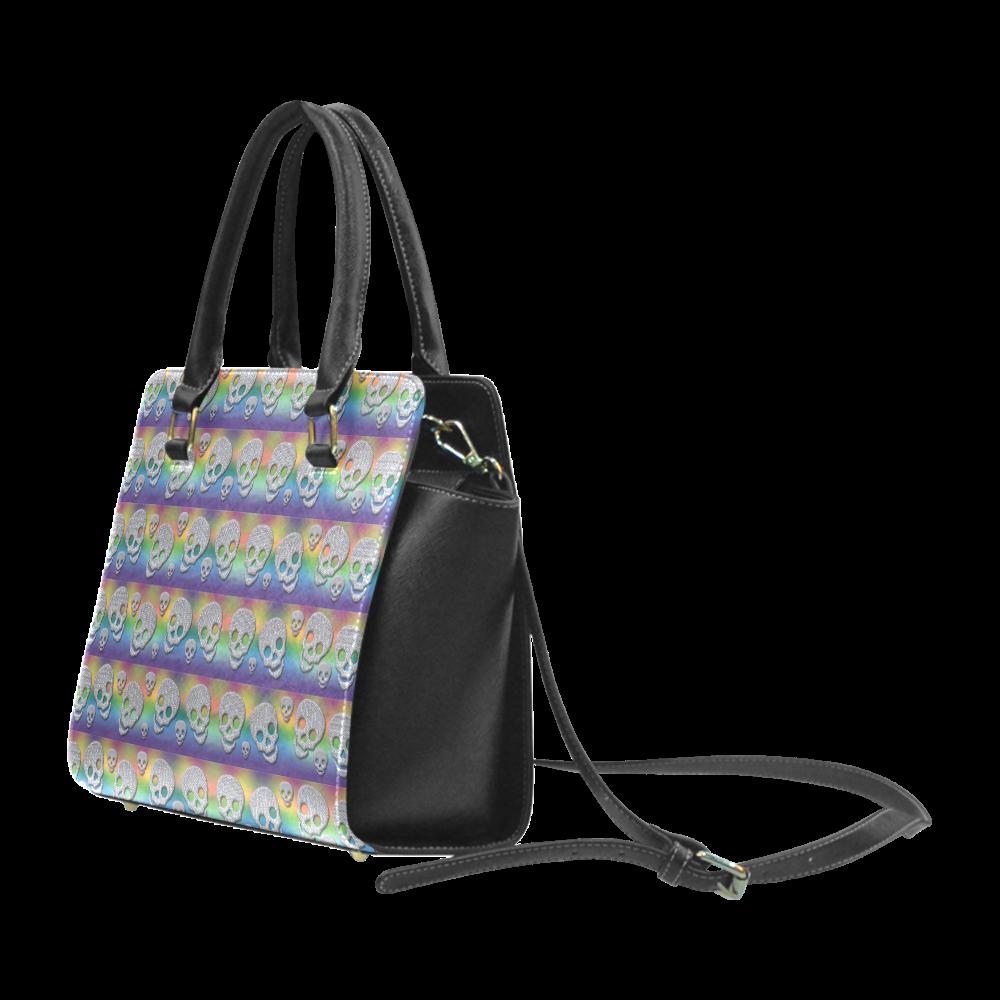 SKULLS MULTICOLOR Rivet Shoulder Handbag (Model 1645)
