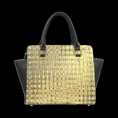 GOLD LUXURY TEXTURE Rivet Shoulder Handbag (Model 1645)