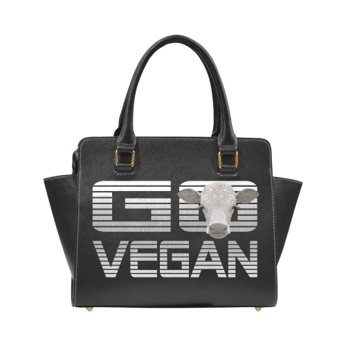 VEGAN 4 ANIMALS Rivet Shoulder Handbag (Model 1645)