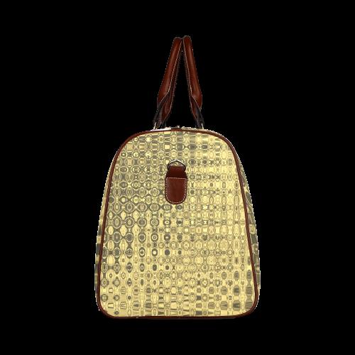 GOLD LUXURY TEXTURE Waterproof Travel Bag/Large (Model 1639)
