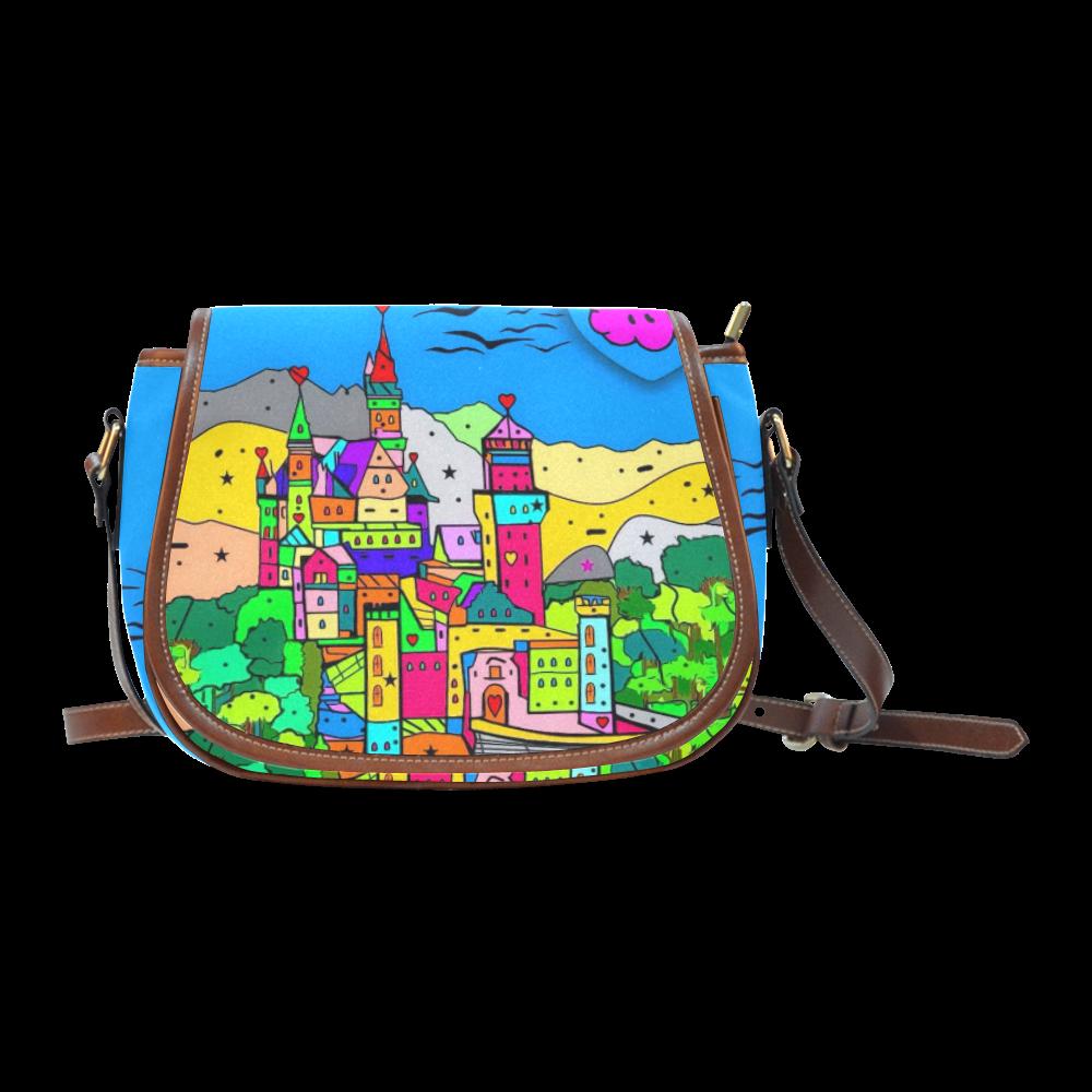 Neuschwanstein Castle by Nico Bielow Saddle Bag/Small (Model 1649) Full Customization