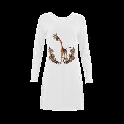 Funny, sweet giraffe Demeter Long Sleeve Nightdress (Model D03)