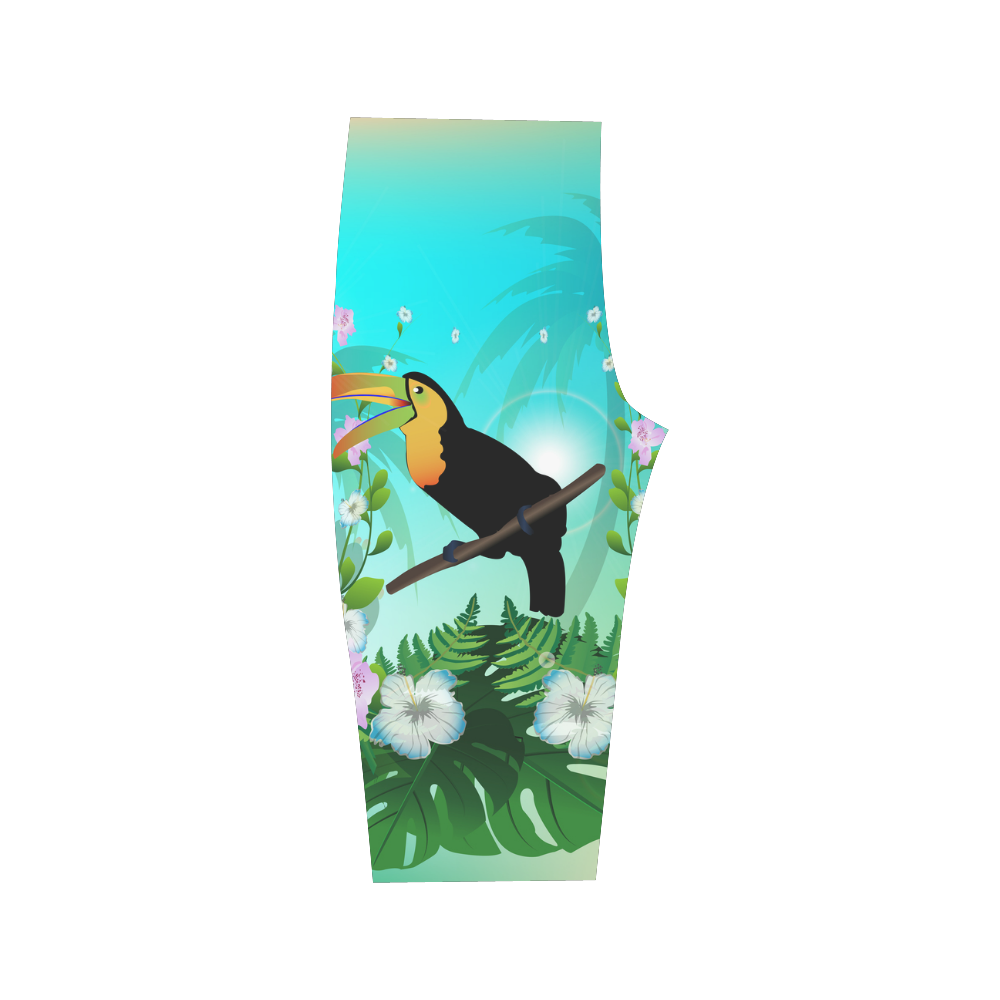 Cute toucan with flowers Hestia Cropped Leggings (Model L03)